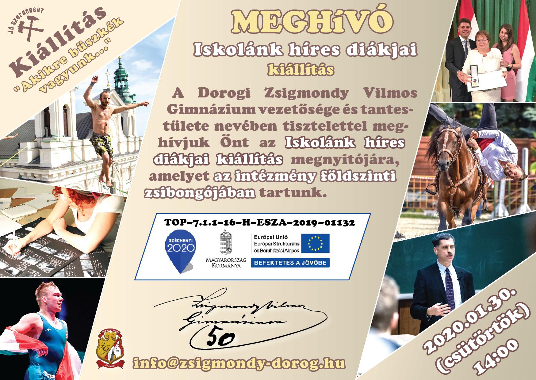 Meghívó a Dorogi Zsigmondi Vilmos Gimnázium kiállítására