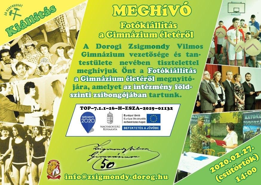 Meghívó a Dorogi Zsigmondy Vilmos Gimnázium kiállítására